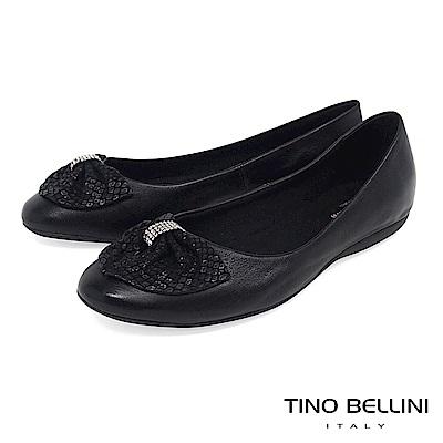 Tino Bellini 巴西進口鑽飾寬版蛇紋領結平底娃娃鞋 _ 黑
