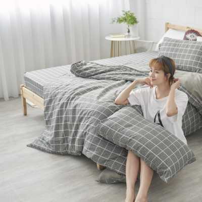 BUHO 天然嚴選純棉雙人加大四件式兩用被床包組(酷淨森澈)