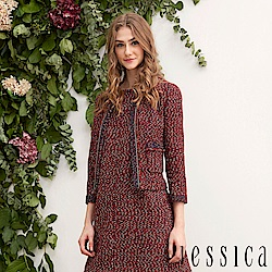 JESSICA - 編織設計流蘇開襟衫外套(紅)