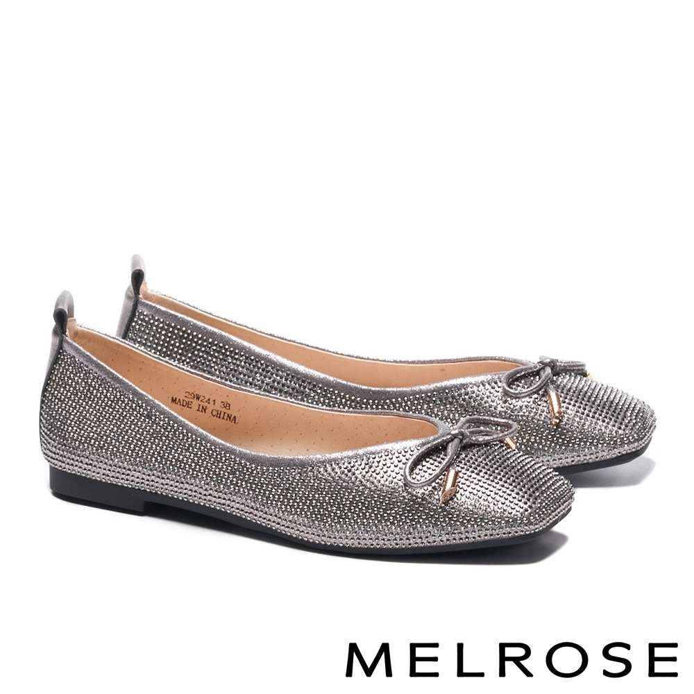 平底鞋 MELROSE 時髦閃耀水鑽蝴蝶結方頭平底鞋-古銅