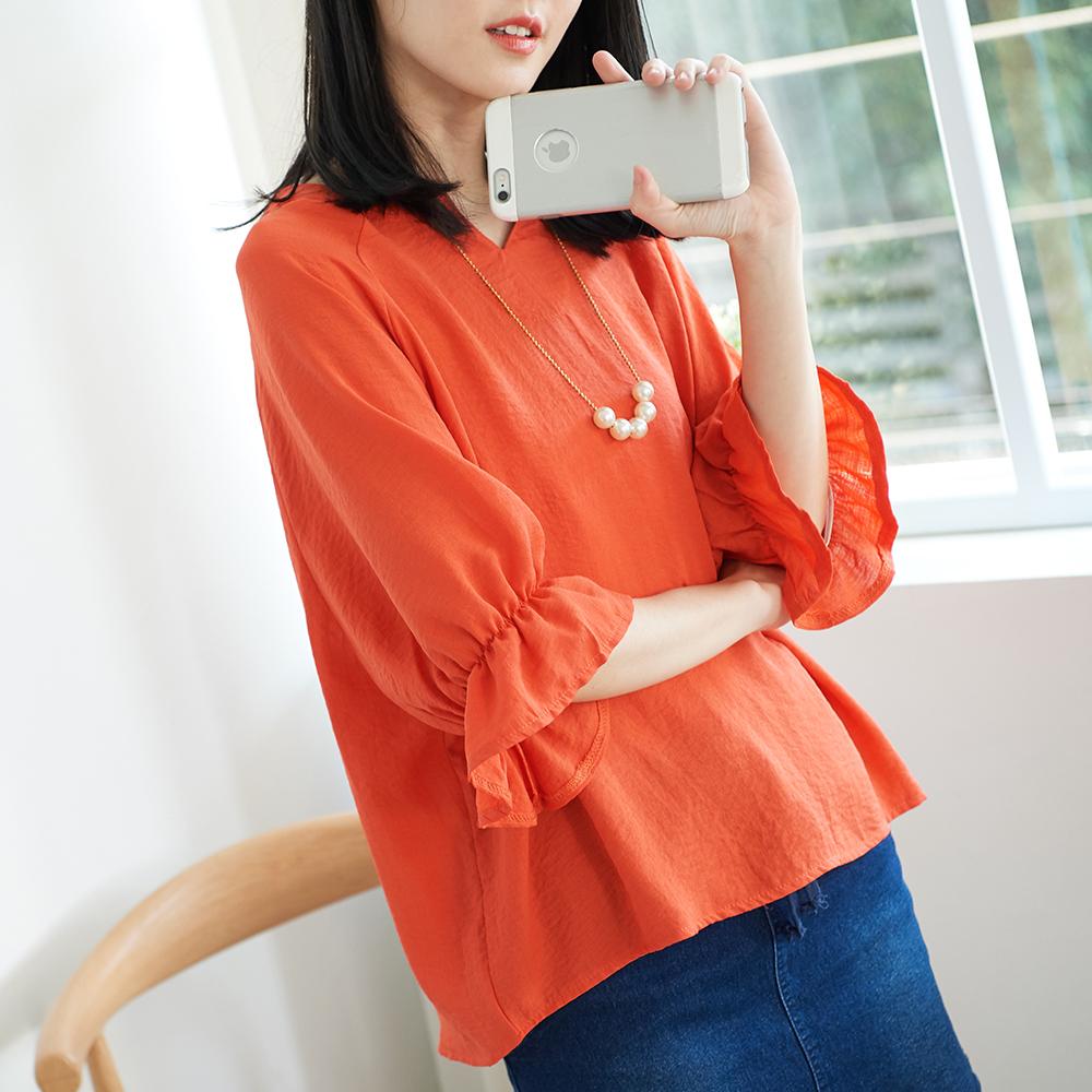 KatieQ 素色V領喇叭袖寬上衣-橘/黃