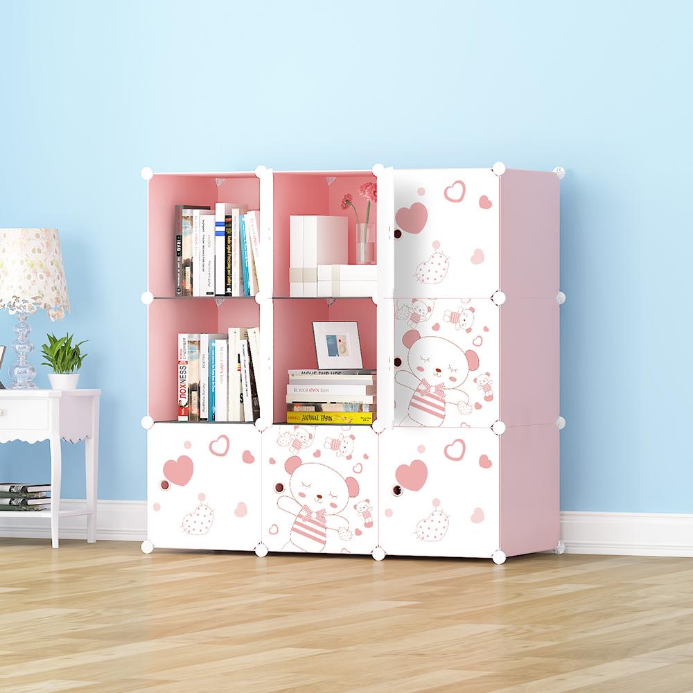 【Mr.Box】加大型9格9門收納櫃/置物櫃/書櫃(粉紅款)