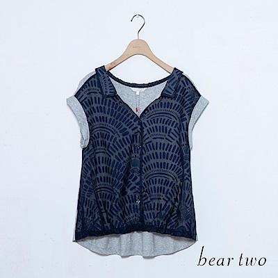 beartwo 開襟領印花反褶袖上衣(三色)