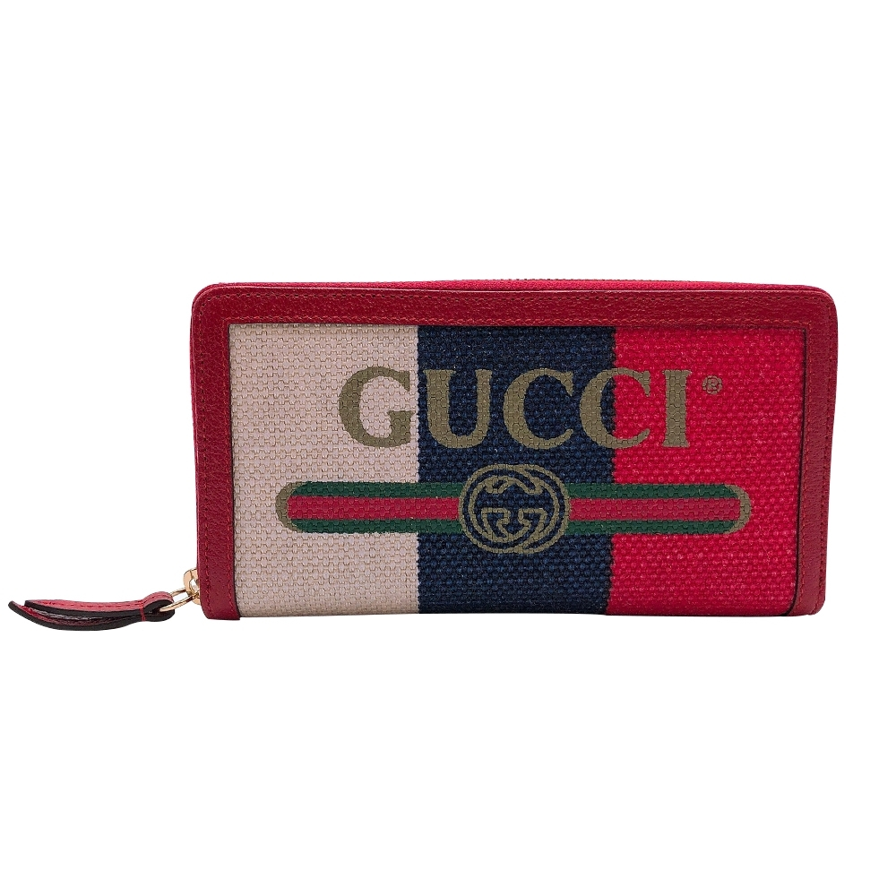 GUCCI Print logo 紅白藍拚色帆布長夾(524790)