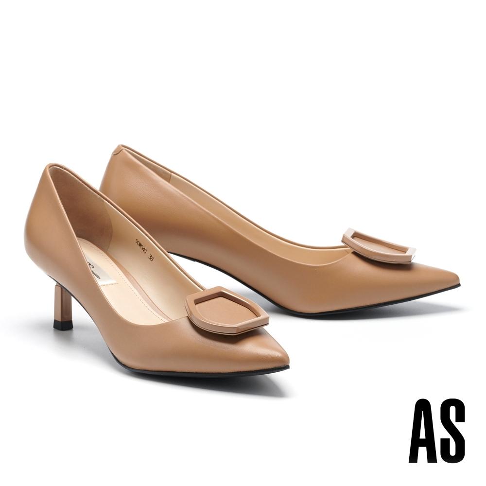 高跟鞋 AS 鏡面烤漆流線六角釦飾羊皮尖頭高跟鞋-杏