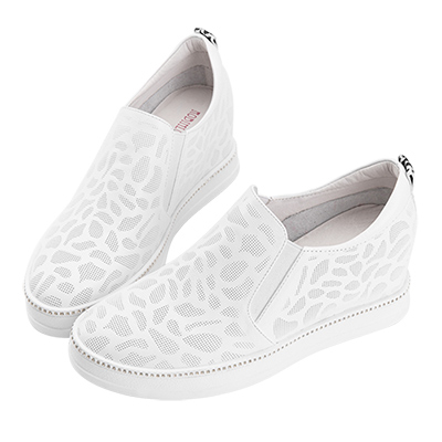 Robinlo 低調鑲鑽休閒壓紋內增高休閒鞋 白