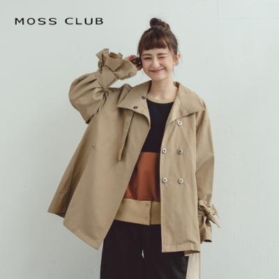MOSS CLUB綁帶袖口設計傘狀-外套咖色