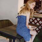 AIR SPACE 背綁結雕花蕾絲平口洋裝(藍)