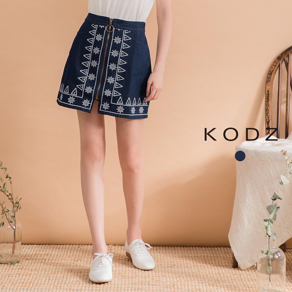 東京著衣-KODZ 經典刺繡民族風造型牛仔短裙-S.M.L(共一色)