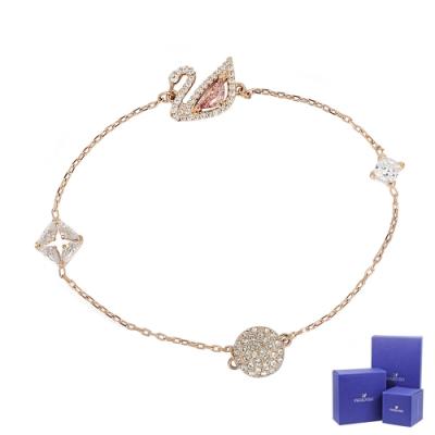 SWAROVSKI 施華洛世奇 Dazzling Swan 璀燦粉水晶天鵝造型玫瑰金磁扣手鍊手環