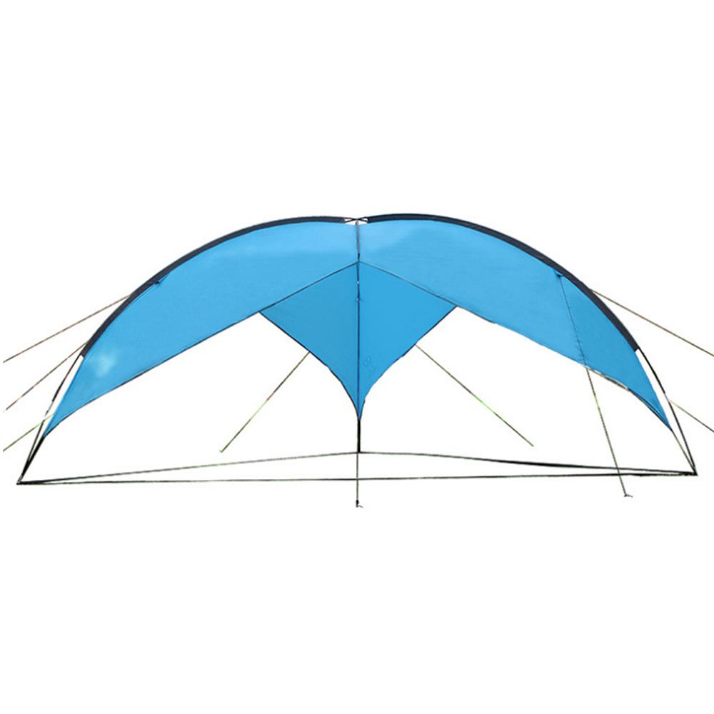 PUSH!戶外休閒用品露營沙灘遮陽防水三角天幕棚P119藍色