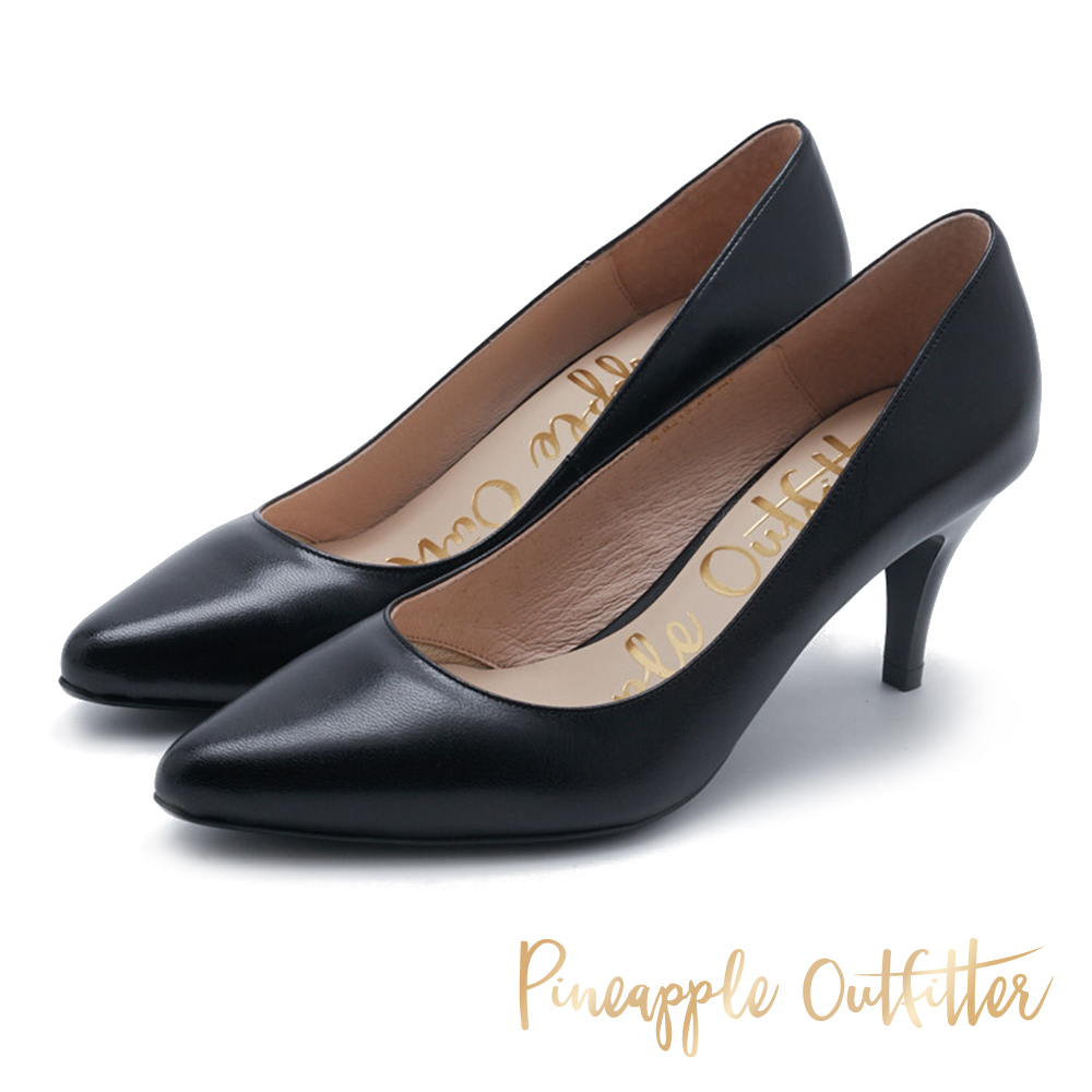 Pineapple Outfitter 簡約風尚 素面尖頭高跟鞋-黑色