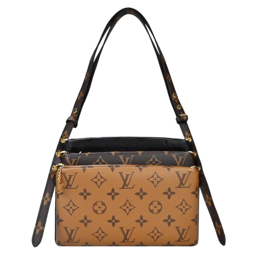 Louis Vuitton Pouche LV3 小羊皮Monogram帆布金屬圈環連接三合一肩背包(黑x卡其x焦糖)