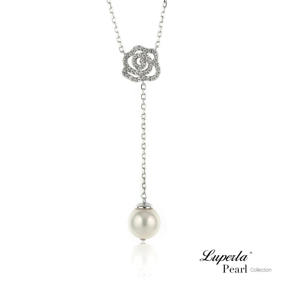大東山珠寶 日本Akoya海水珍珠純銀晶鑽項鍊 優雅白玫瑰