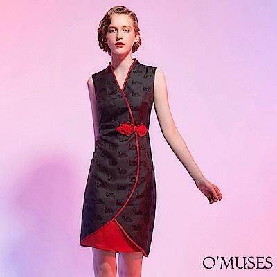 天鵝刺繡旗袍洋裝-OMUSES
