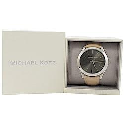 MICHAEL KORS MK8619皮革帶手錶(卡其/銀)