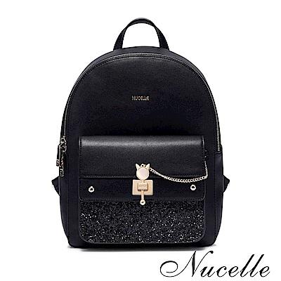 Nucelle 歐夏蕾時尚後背包-L 質感黑