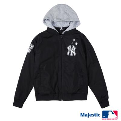 MLB - 洋基隊鋪棉可拆帽棒球外套-黑 (女)