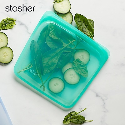 Stasher 方形環保按壓式矽膠密封袋-碧綠(快)