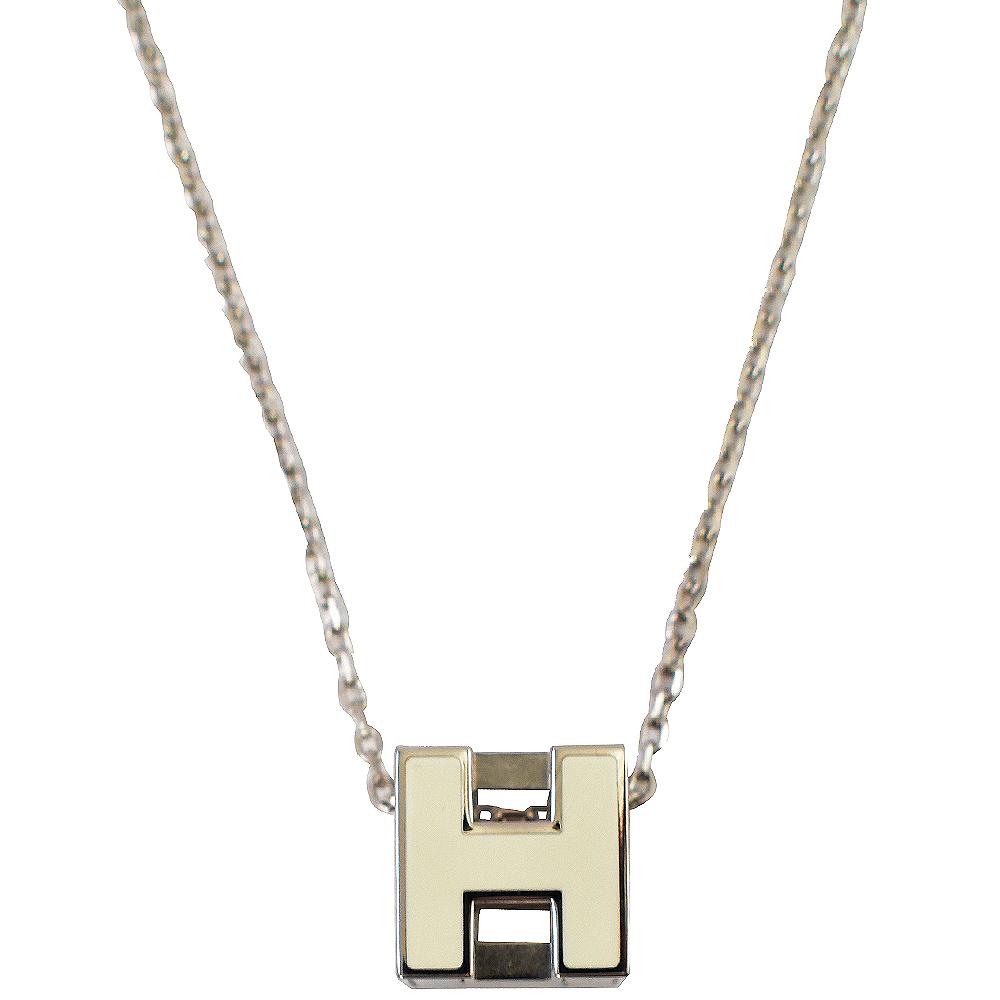 HERMES H LOGO方塊項鍊(白/銀)