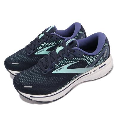 Brooks 慢跑鞋 Ghost 14 寬楦 運動休閒 女鞋 避震 柔軟 穩定 3D彈力列印科技 藍 白 1203561D446