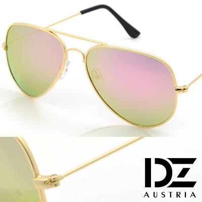 【2件59折】DZ 復古饗宴 防曬偏光 太陽眼鏡墨鏡(金框金綠粉膜)