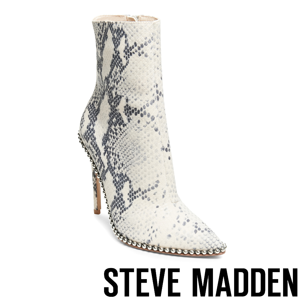 STEVE MADDEN-WORTHY-個性金屬設計尖頭高跟短筒靴-白色