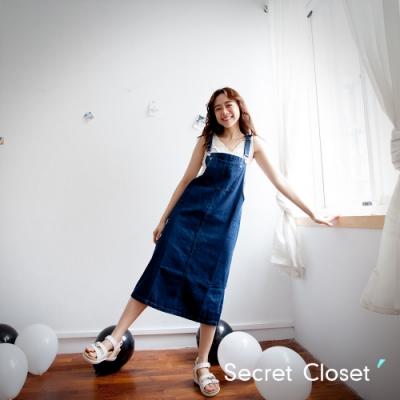 Secret Closet-俏皮口袋牛仔布吊帶裙-深藍