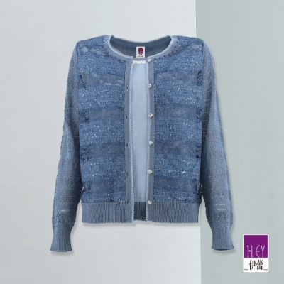 ILEY伊蕾 奢華精緻微閃縷空假兩件針織上衣(藍)