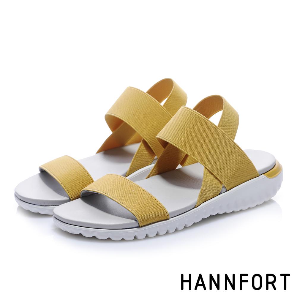 HANNFORT Ultra Flex 3D寬版鬆緊帶交叉涼鞋-女- 芒果黃