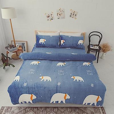 AmissU 北歐送暖法蘭絨單人床包枕套2件組 北極熊戀曲