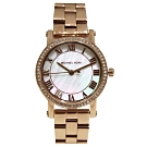 MICHAEL KORS 簡約時尚不鏽鋼晶鑽腕錶-珍珠貝x玫塊金/28mm