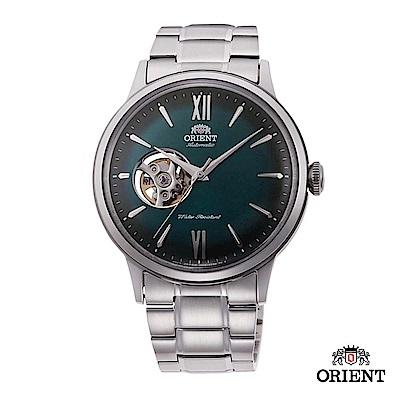 ORIENT 東方錶 SEMI-SKELETON系列 機械錶 鋼帶款 綠色 40.5mm