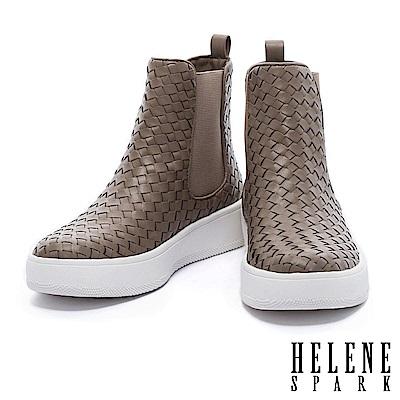 短靴 HELENE SPARK 獨特個性皮革編織厚底短靴-米