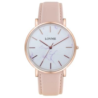 LOVME 大理石紋風格時尚手錶-IP玫x粉帶/38mm