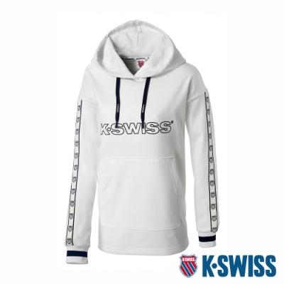K-SWISS Heritage Tape Hoodie時尚連帽上衣-女-白