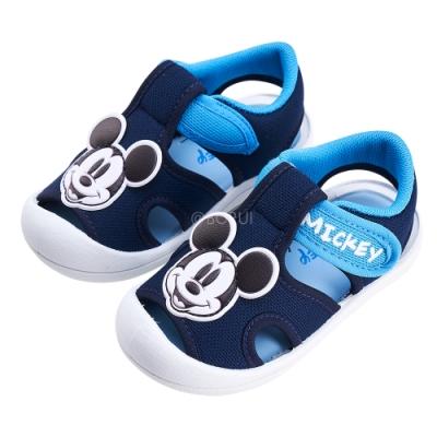 迪士尼童鞋 米奇 經典造型護趾涼鞋-藍 (柏睿鞋業)