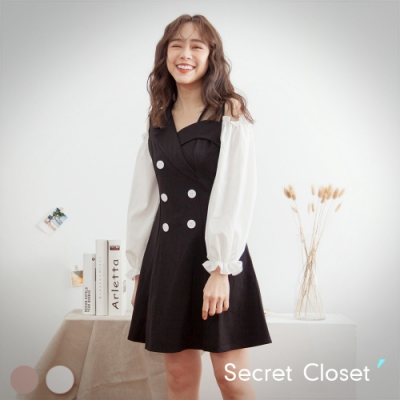 Secret Closet-顯瘦細肩公主袖連身洋裝
