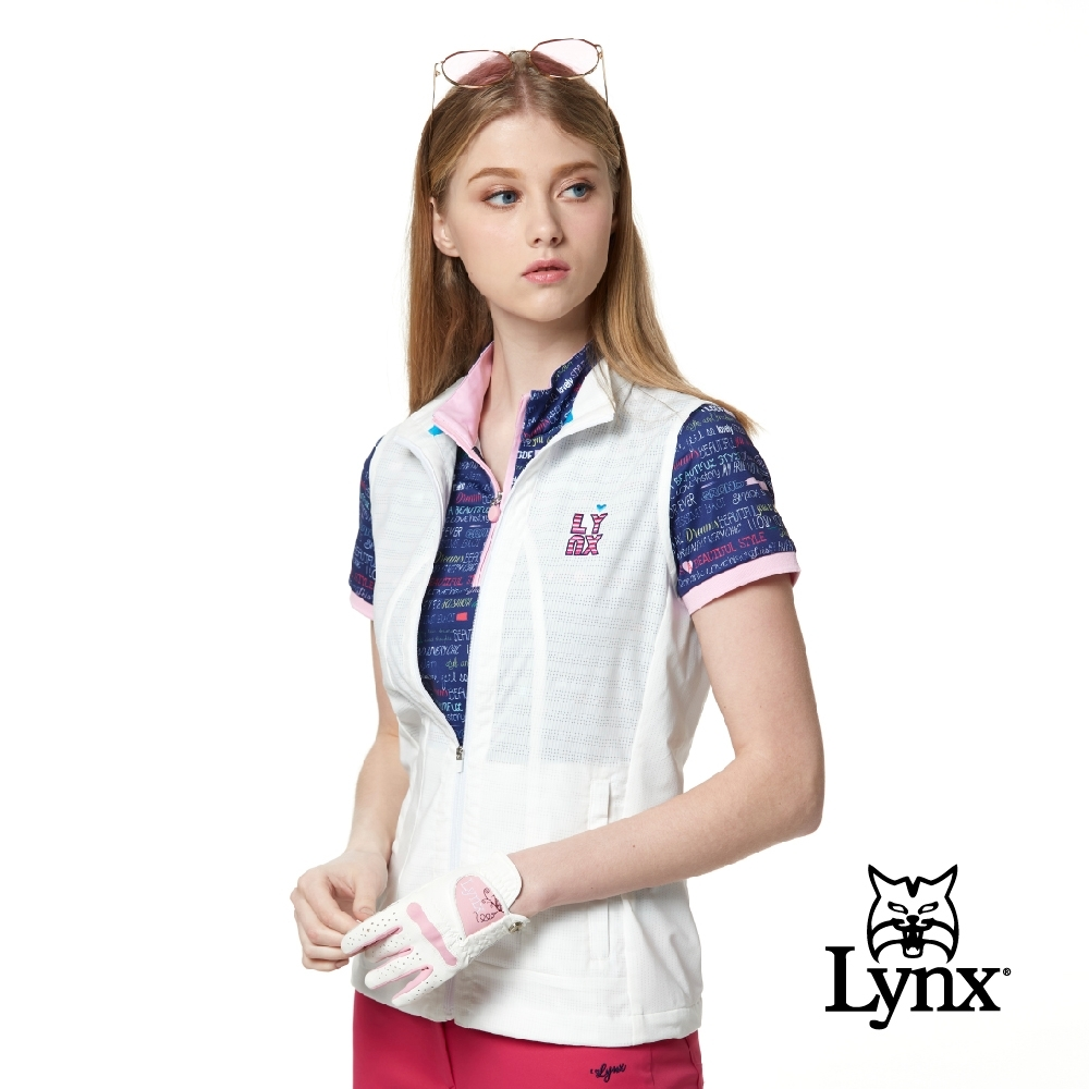 【Lynx Golf】女款彈性舒適涼爽透氣後背通風拉鍊口袋無袖背心-白色