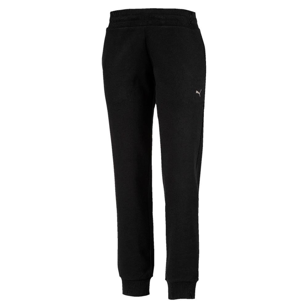 PUMA-女性基本系列運動風刷毛長褲-黑色-歐規