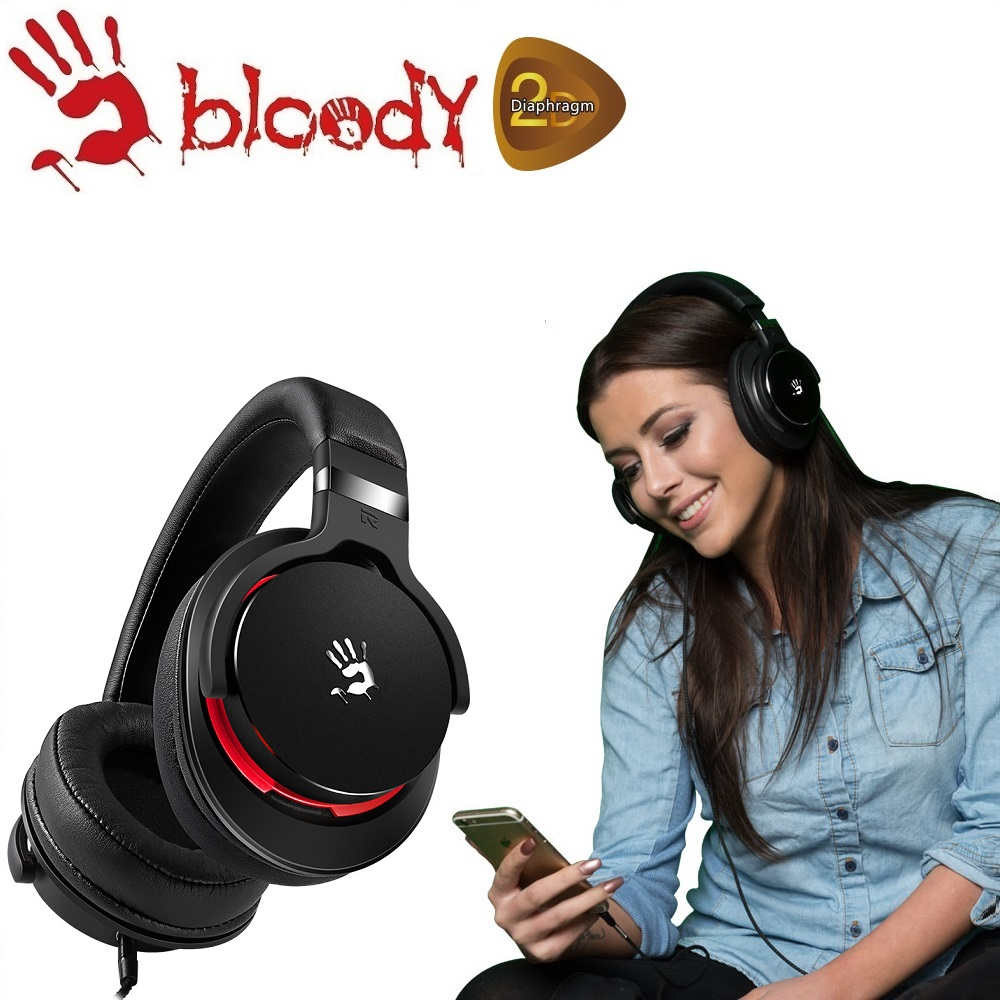 【A4 bloody】魔磁雙振膜高質音樂耳機 - M550-RB(黑紅)
