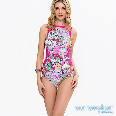 澳洲Sunseeker泳裝童趣塗鴉高領寬肩連身式泳裝