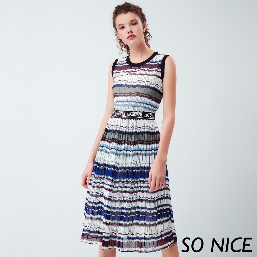 SO NICE時尚撞色條紋雪紡洋裝
