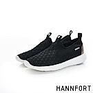 HANNFORT ICE彈性壓紋運動休閒鞋-女-運動黑