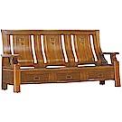 綠活居 威尼典雅風實木三人座沙發椅(三抽屜設置)-191x77x102cm免組