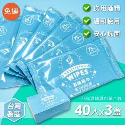 家購網嚴選 75%酒精濕巾 隨身抗菌單片裝 40入x3盒