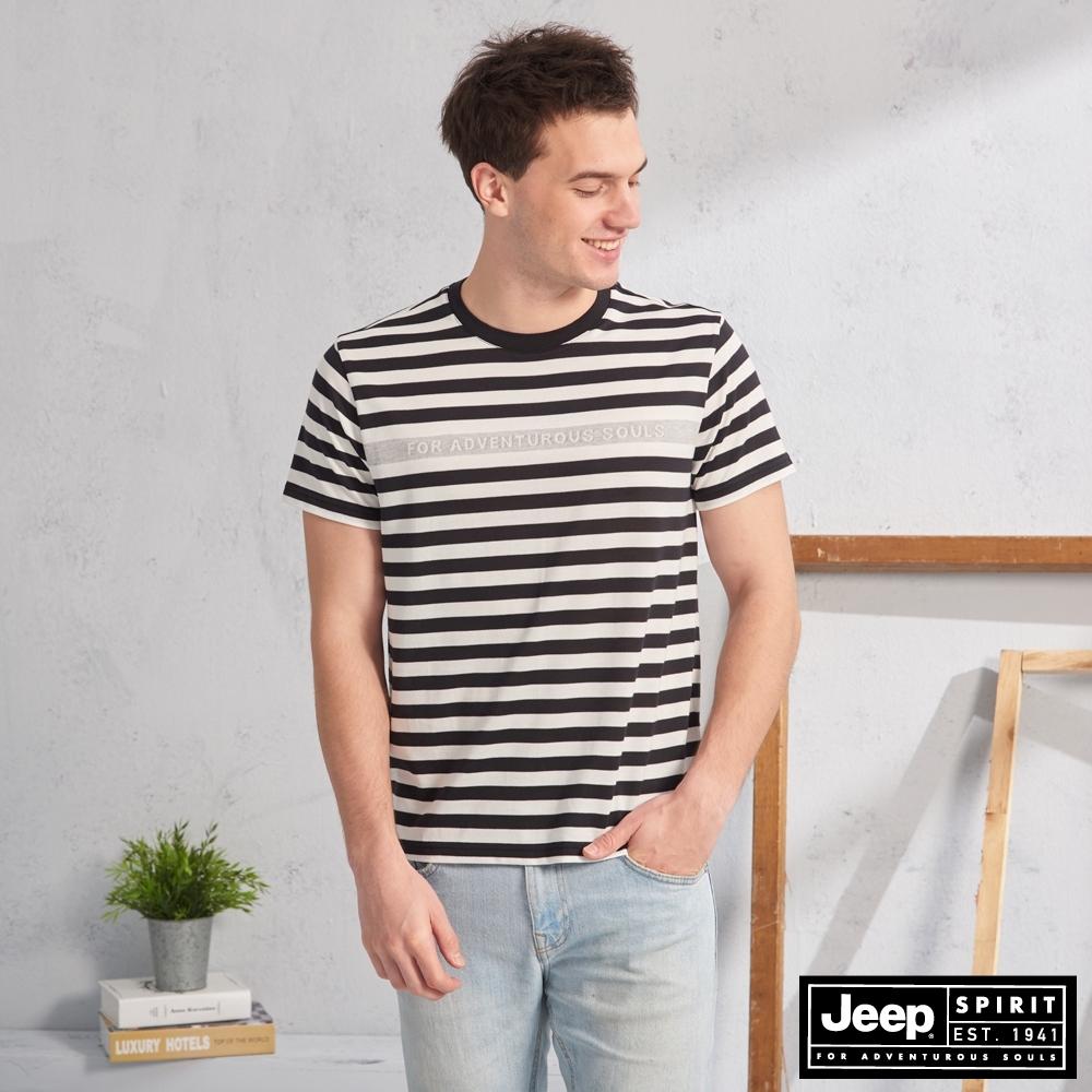 JEEP HiCool吸濕排汗條紋短袖TEE-黑色