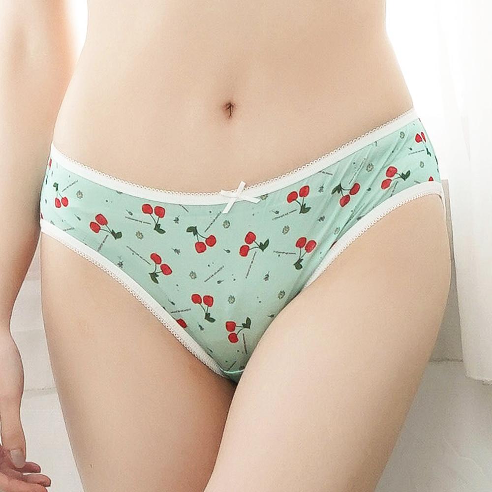 內褲 可愛滿滿櫻桃100%蠶絲內褲 (綠) Chlansilk 闕蘭絹