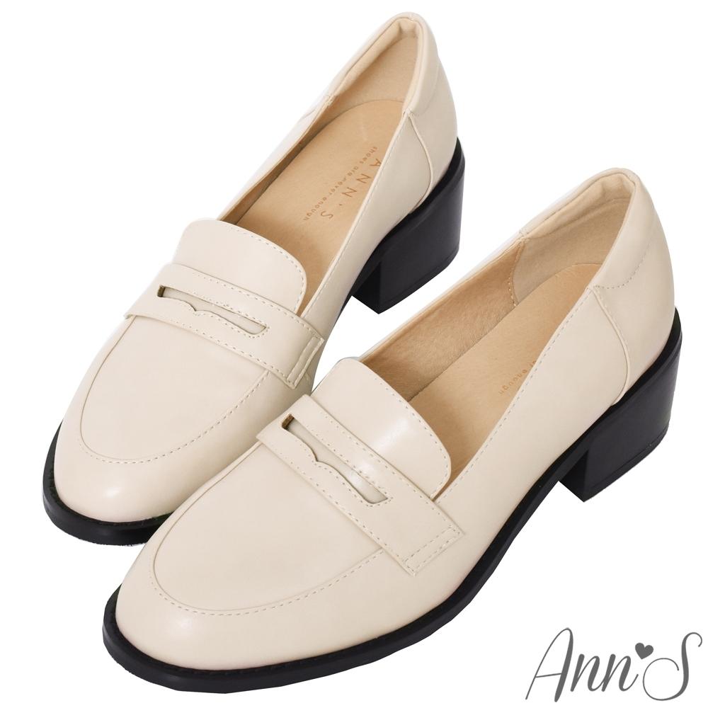 Ann'S學院提案-質感素面粗跟5cm紳士鞋-米白