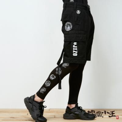 鬼洗 BLUE WAY-多重織帶工業風格短褲(黑)